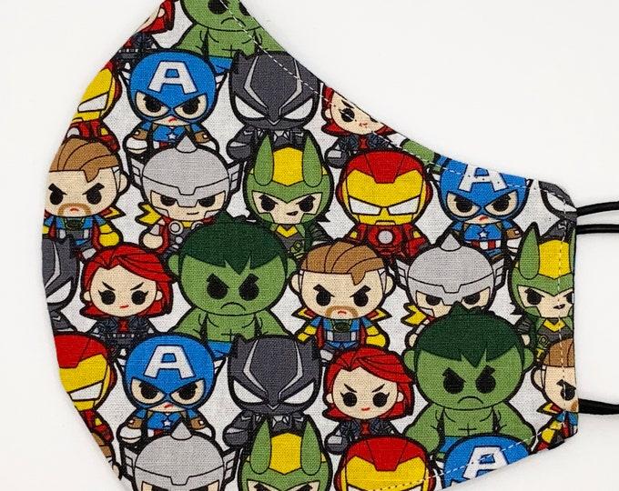 ADULT Mask - Kawaii Avengers - Polkadot - Hulk - Thor - Black Panther - Iron Man - Captain America - Washable Reversible Reusable Fabric