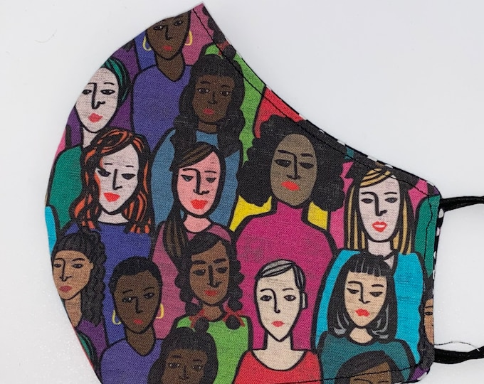 ADULT Mask - Women Together - Jewel Tone - Women's Rights - Feminist - Resist - People Diversity - Women of Color - Comfortable - Reversible
