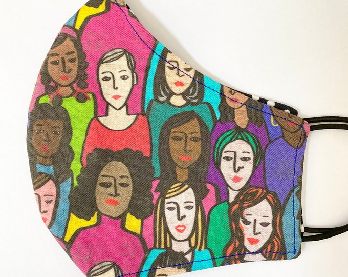 TEEN Mask - Women - POC - Feminist - Ladies - Middle School - Girls - Resist - Women's Rights - Kid - Back to School - Small Face - Tween