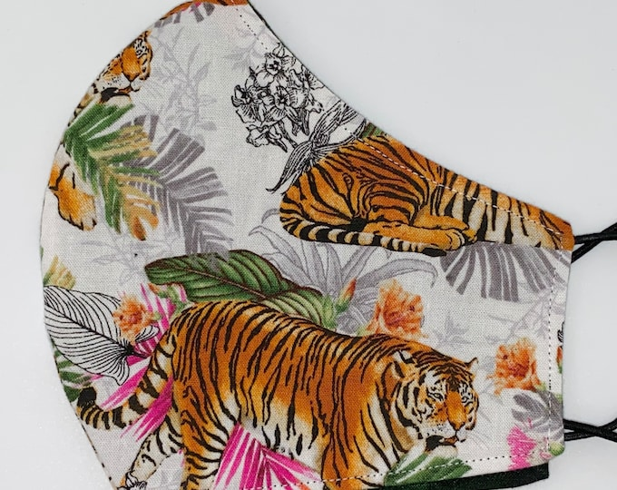 ADULT Mask - Tigers - Jungle - Palm - Leaves - Joe Exotic - Tiger King - Majestic - Kittens - Washable - Reversible - Cotton - Holiday Gift