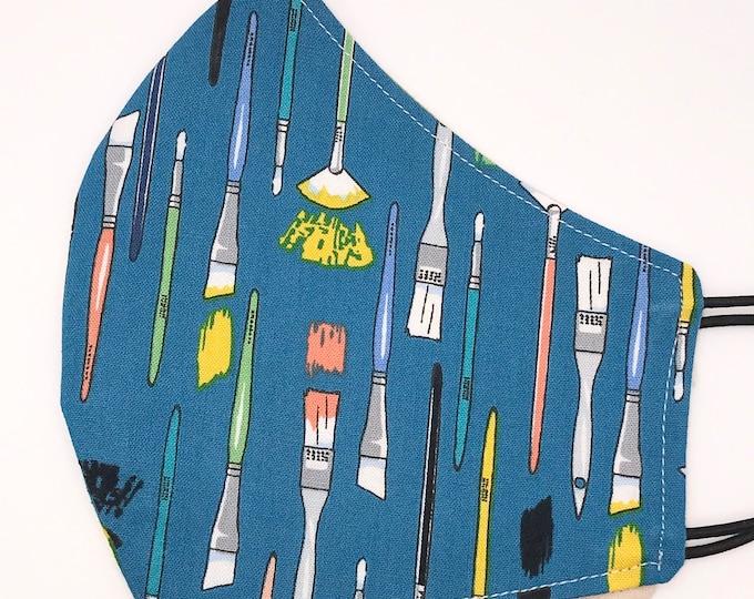 ADULT Mask - Paint Brushes - Artist - Geometric - Mid Century - Teacher - Paint - Creative - Unique - Washable Reversible Reusable Fabric