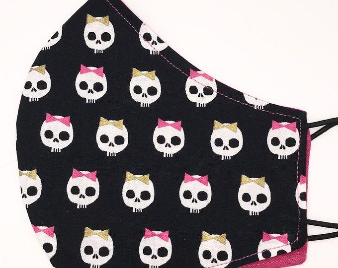 ADULT Mask - Girl Sugar Skulls - Solid Fuchsia - Dia de Los Muertos - Latino - Mexican - Washable Reversible Fabric Mask
