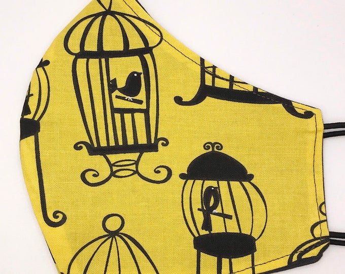 ADULT Mask - Bird Cages - Yellow Black - Solid Gray - Grey - Bright Yellow - Tweety - Victorian - Washable Reversible Reusable Fabric
