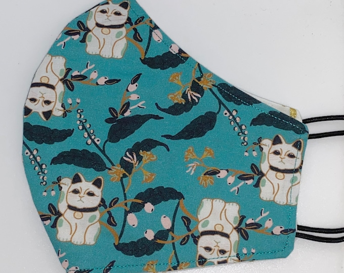 ADULT Mask - Emerald Luck Cat - Reversible Gold Dash - Japanese - Asian - Kitty - Modern - Unique - Cute - Stylish - Comfortable - Pretty