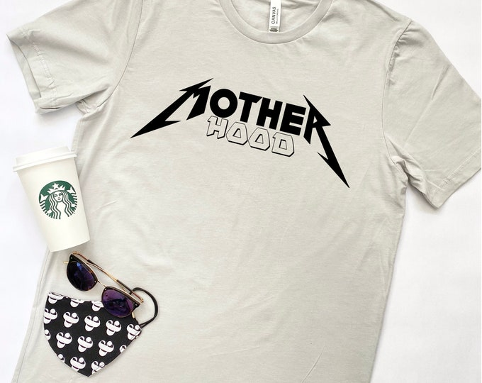 MOTHERHOOD Tshirt - Tunic Length - Light Gray - Short Sleeve - Heavy Metal Mom - Graphic Tee - Metallica Fan - Mom Shirt - Mother's Day