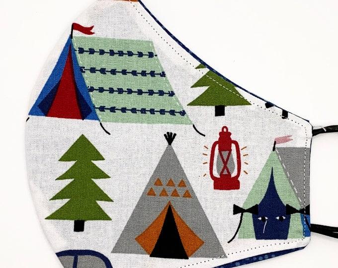 ADULT Mask - Camping Tent Trailer - Blue Polkadot - Campfire - Lantern - Cute - Nature - Glamping - Car Washable Reversible Reusable Fabric