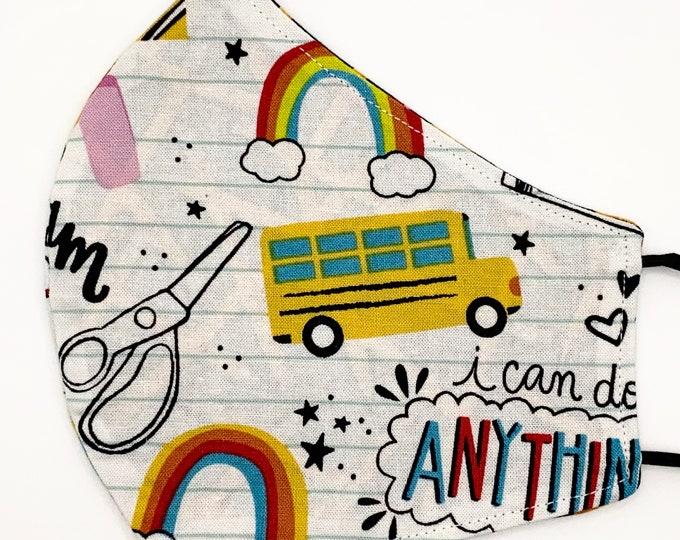 ADULT Mask - Back to School Doodle - No2 Pencils - Binder Paper - Teacher - Elementary - Encouraging - Washable Reversible Reusable Fabric