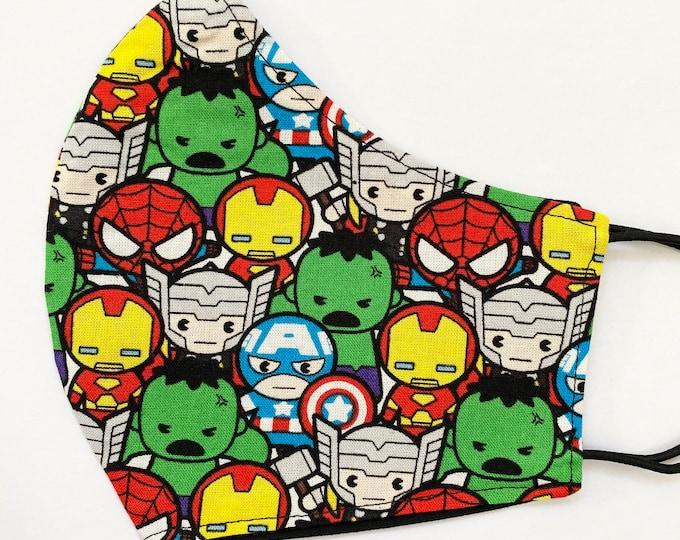 ADULT Mask - Super Hero Kawaii - Avengers - Iron Man - Hulk - Captain America - Summer Vacation - Comfortable - Easy to Breathe