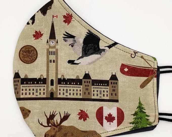 ADULT Mask - Canada - Solid Gray - Moose - Beaver - Maple Leaf - Canucks - North America - Polar Bear - Washable Reversible Reusable Fabric