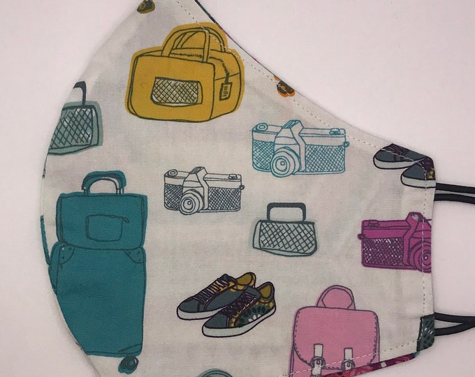 ADULT Mask - Vacation - Luggage - Boho Patchwork - Travel - Sneakers - Photography - Wanderlust - Washable Reversible Reusable Fabric