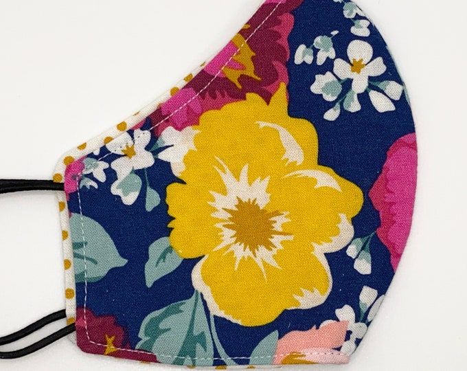 CHILD Mask - Bright Floral - Polkadot - Large Flowers - Modern Wallpaper - Mustard Yellow - Blue - Red- Washable Reversible Reusable Fabric