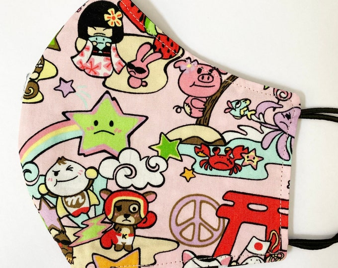 TEEN Mask - Pink Kawaii - Polkadot - Toki Doki - Japanese - Hula - Kokeshi - Kids - Back to School - Hawaii - Island - Small Face - AAPI
