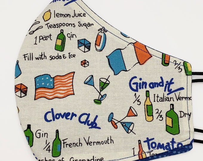 ADULT Mask - International Cocktails - Bartender - Kitschy - Quirky - Europe - British - Gin - Champagne Washable Reversible Reusable Fabric