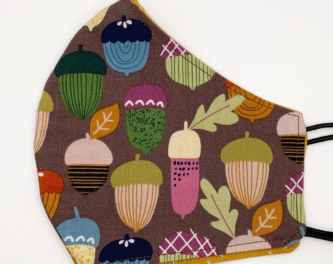 ADULT Mask - Autumn Acorns - Positive Vibes - Fall Colors - Pretty - Stylish - Cute - Nuts - Fitted - Washable Reversible Reusable Fabric