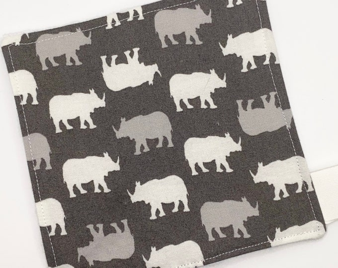Gray Rhino - Rhinoceros - Baby Boy - Zoo Animal - Sensory Toy - Crinkle Crunchy Square