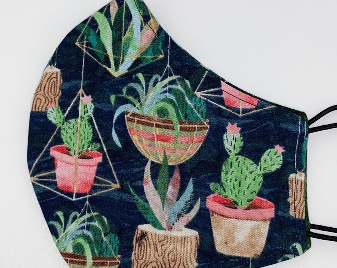 ADULT Mask - Hanging Succulents - Palm Leaves - Plants - Boho - Floral - Cactus - Reversible - Comfortable - Easy to Breath Fabric