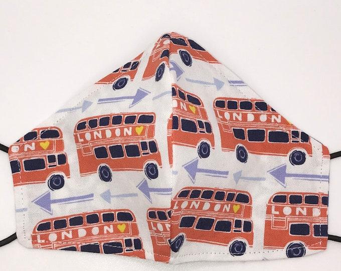 TODDLER Mask - London Busses - Blue Geometric Print - UK Travel - Tourist - Britain - Double Decker - Washable Reversible Reusable Fabric