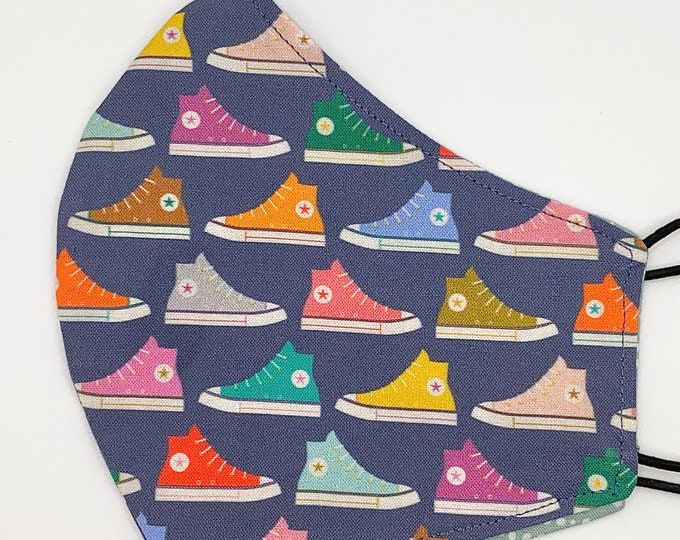ADULT Mask - Converse Sneakers - Polkadot - Trendy Shoes - Colorful - Unisex - Hi Top - Cute - Stylish - Washable Reversible Reusable Fabric