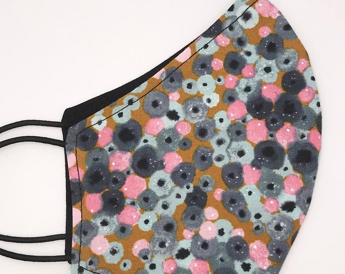 CHILD Mask - Watercolor Floral - Solid Black - Mustard - Pink - Periwinkle - Pretty Flowers - Dots - Washable Reversible Reusable Fabric