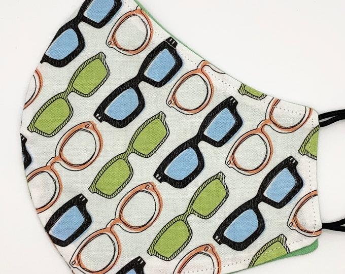 ADULT Mask- Eye Glasses - Solid Green - Optometrist - Sunglasses - Spectacles - Eye Doctor - Washable Reversible Reusable Fabric