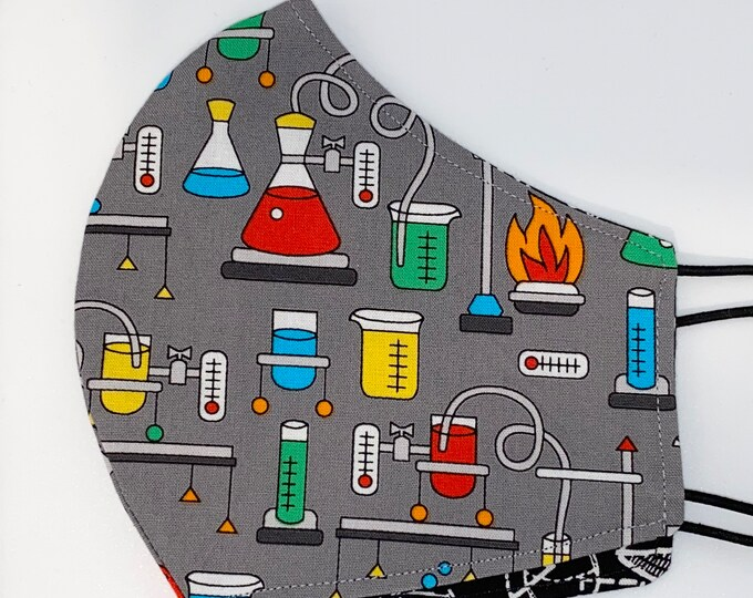 ADULT Mask - Chemistry - Math - Geometry - Beakers - Science - Mens - Beakers - Bunson Burner - Reversible - Easy to Breathe - Fabric Mask