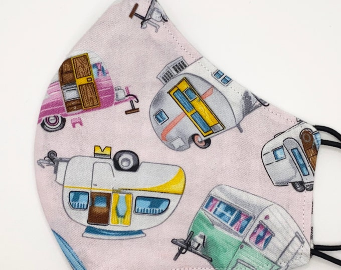 ADULT Mask - Pink Camper RVs - Gingham - Camping - Road Trip - Glamping - Vacation - Tin Can - Ham - Stylish Washable Reversible Fabric Mask