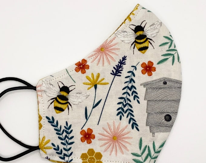 CHILD Mask - Honey Bees - Bee Keeper - Honeycomb  - Flowers - Farm - Country - Honey - Cute - Stylish - Washable Reversible Reusable Fabric