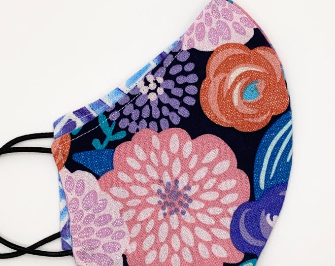 CHILD Mask - Purple Floral - Watercolor Basketweave - Geometric - Flowers - Pretty - Kids Mask - Washable Reversible Reusable Fabric