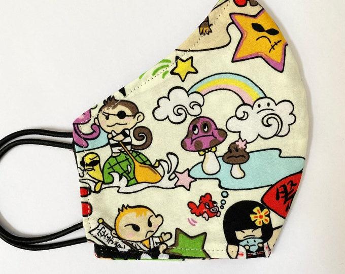 CHILD Mask - Cream Color Kawaii - Polkadot - Toki Doki - Japanese Cute - Hula - Rainbow - Kokeshi - Kids - Back to School - Hawaii - Island