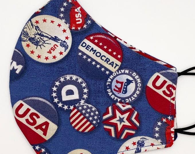 ADULT Mask - Democrat - American Flag - Liberal - Election - Washington DC March - Political - Vote - Washable Reversible Reusable Fabric
