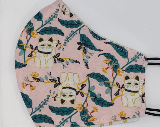 ADULT Mask - Pink Lucky Cat - Reversible Gold Dash - Japanese - Asian - Kitty - Modern - Unique - Cute - Stylish - Comfortable - Pretty