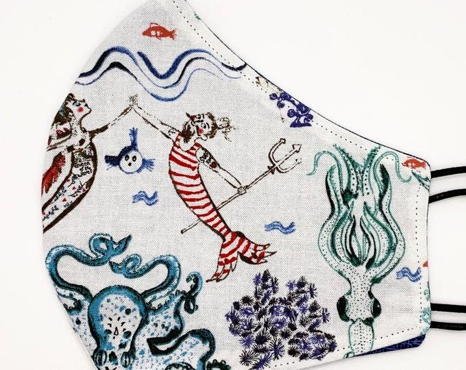 ADULT Mask - Merman - Pirate - Ocean - Octopus - Ship - Nautical - Stylish - Unique - Sketch - Mermaid - Washable Reversible Reusable Fabric