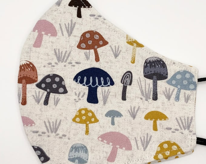 ADULT Mask - Pastel Mushrooms - Yellow Polkadot - Muted Colors - Pink Gray - Sweet - Cute  - Fairytale - Washable Reversible Reusable Fabric