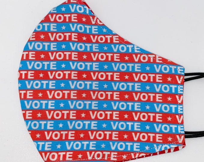 ADULT Mask - Small Vote - Marquee - Political - Election - Ballot - Change - Politics - Easy to Breathe - Comfortable Reversible Fabric