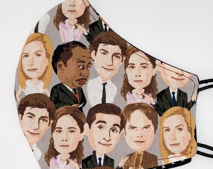 ADULT Mask - The Office - Jim and Pam - Michael Scott - Dwight Schrute - Funny - Comfortable - Easy to Breathe - Fast Shipping - Reversible