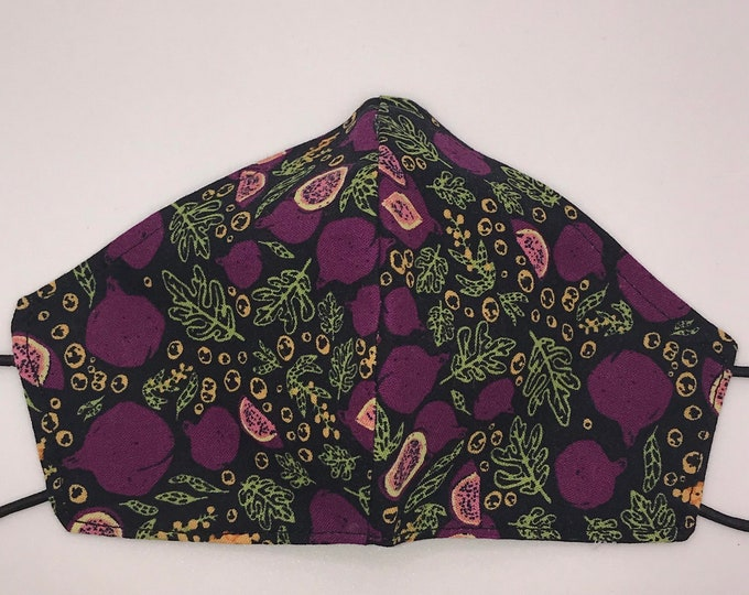 TODDLER - Purple Figs - Fig Leaves - Fruit - Food - Foodie - Washable Reversible Fabric Mask