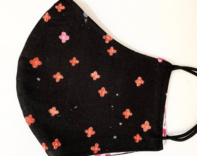 TEEN Mask - Black Japanese Small Floral - Pink Red - Cherry Blossom - Pink Rainbow - Pretty - Traditional - Asian - AAPI - Feminine - Comfy