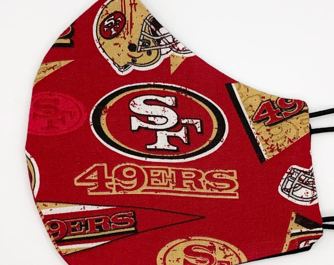ADULT Mask - SF 49ers - Red - Solid Black - San Francisco - Football - NFL - Niners - Superbowl - Washable Reversible Reusable Fabric