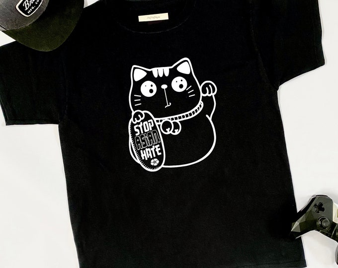 STOP ASIAN HATE Lucky Cat - Graphic Tshirt - Mens - Racial Injustice - Asian American - Equality - Political - Azn - Japanese - Chinese Hapa