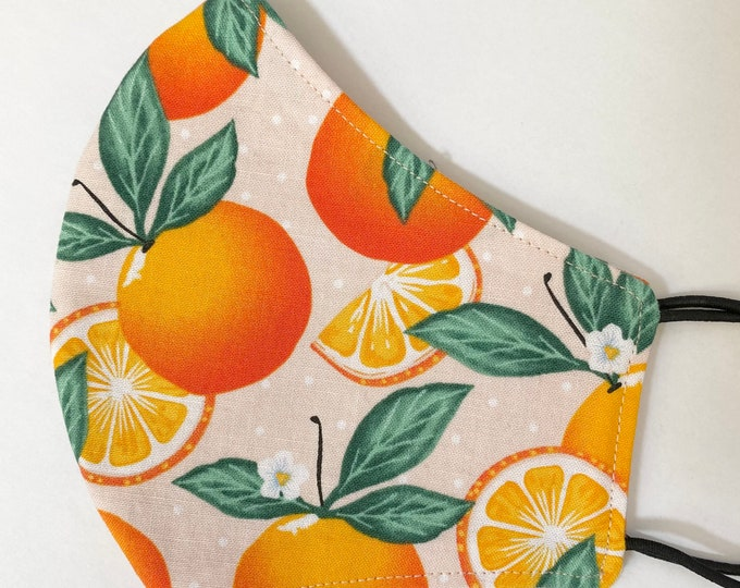 TEEN Mask - Orange Floral - Pretty - Stylish - Fruit - Oranges - Pastel - Blossoms - Girls - Back to School - Small Face - Tween - Summer