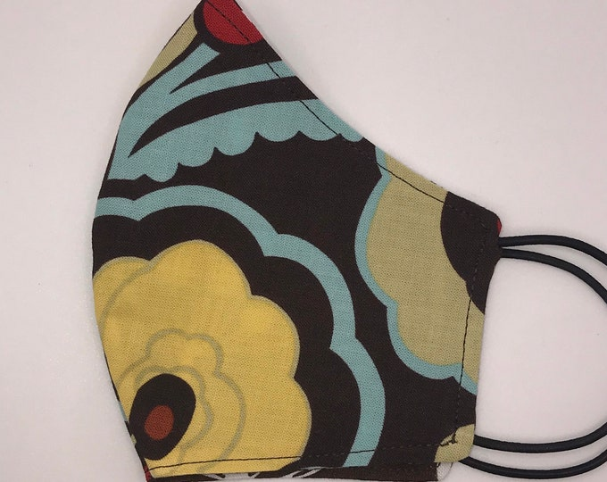 CHILD Mask - Large Brown Red Yellow Floral - Dandelions - Neutral- Kids - Washable Reversible Reusable Fabric
