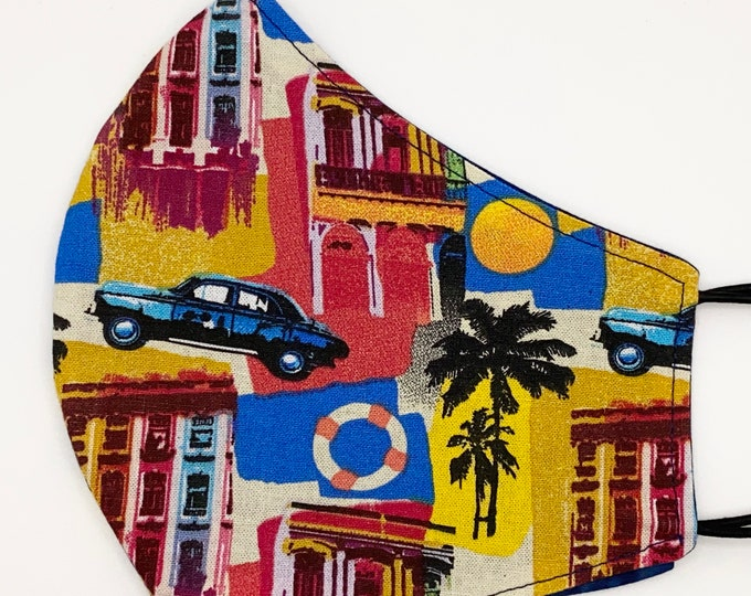 ADULT Mask - Havana - Palm - Tropical - Island - Beachy - Vintage Cars - Sunset - Mens - Blue - Washable Reversible Reusable Fabric