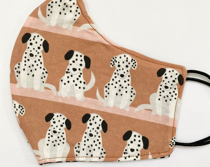 TEEN Mask - Dalmatian Puppies - Dog - Firehouse Dog - Dalmatians - Spotted Dogs - Puppy - Vet - Animal - Reversible - Groomer - Walker