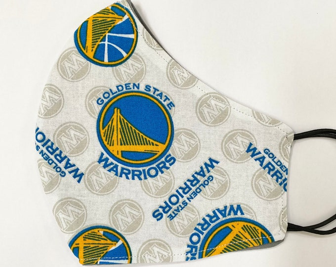 ADULT Mask - Golden State Warriors - Gray - Dub Nation - Dubs Bay Area - NBA - Sports Team - Basketball - Reversible - Comfortable - Solid