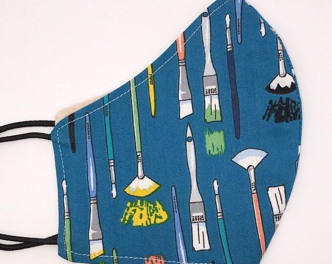 CHILD Mask - Paint Brushes - Artist - Geometric - Art Class - Painter - Paint - Creative - Geometric - Washable Reversible Reusable Fabric