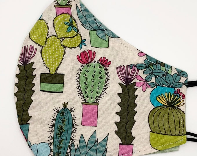 ADULT Mask - Cute Cactus - Pastel Boho - House Plants - Succulents - Potted - Plant Lady - Comfortable Easy to Breathe - Reversible Fabric