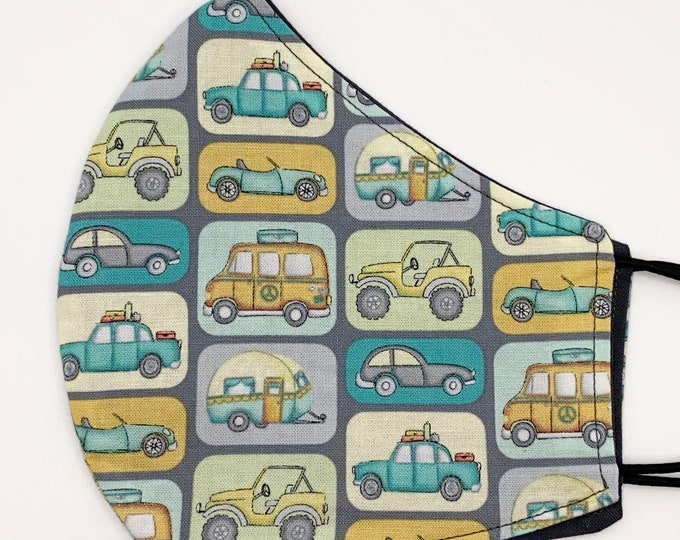 ADULT Mask - Vehicles - Solid Gray - Bus Car - Camper Trailer - Vacation - Convertible - Travel - Jeep - Washable Reversible Reusable Fabric