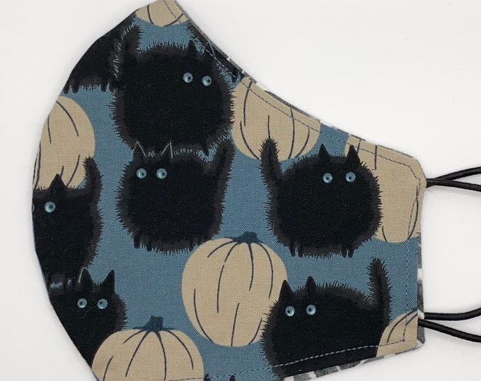 ADULT Mask - Black Cats - White Pumpkins - Blue - Halloween - Trick or Treat - Spooky - Cute - Fall - Washable Reversible Reusable Fabric