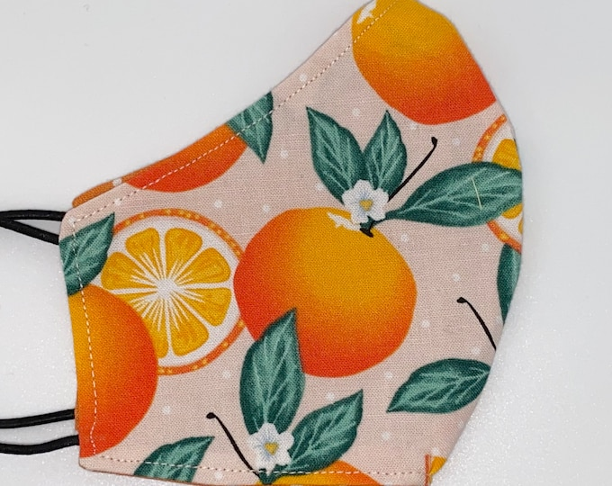 CHILD Mask - Oranges - Polkadot - Pretty - Cute - Easy to Breathe - Fruit Pink - Girls - Flowers - Nature - Classroom - School - Comfortable