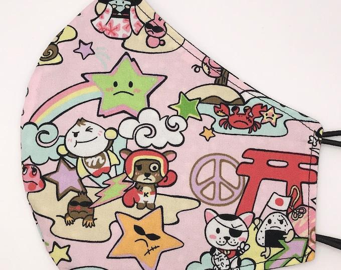 ADULT Mask - Pink Japanese Kawaii - Kokeshi - Toki Doki - Island - Hawaii - Palm Tree - Hapa - Kimono - Washable - Reversible - Cotton